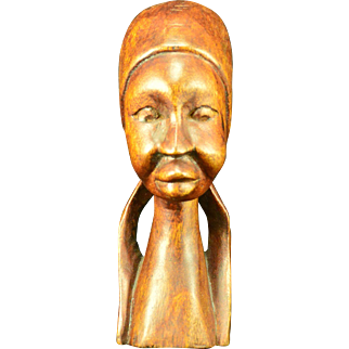 Vintage  Hand Carved Female Bust in Jamaican Dog Wood