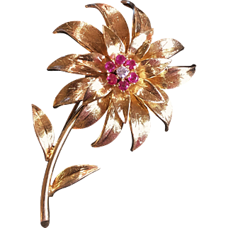Tiffany & Co. Italy 18k Gold, Ruby and Diamond Flower Brooch, Mid-Century