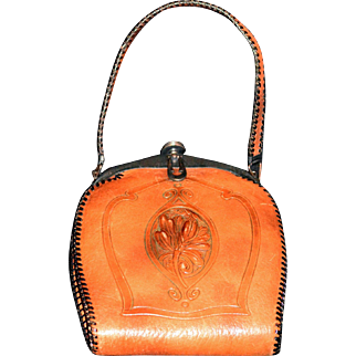 Art Nouveau Hand-tooled Leather & Suede Bird of Paradise Ladies Handbag with Matching Coin Purse and Mirror  - 1918