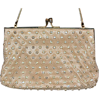 Vintage Ladies Hand-beaded Frame Evening Bag with Rhinestones, Silvertone Clasp & Serpentine Wrist Strap -