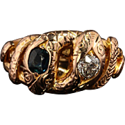 Genuine Victorian Natural Sapphire and Diamond Snake Sentimental Ring
