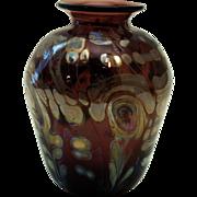 Amethyst and Iridescent Art Glass Vase