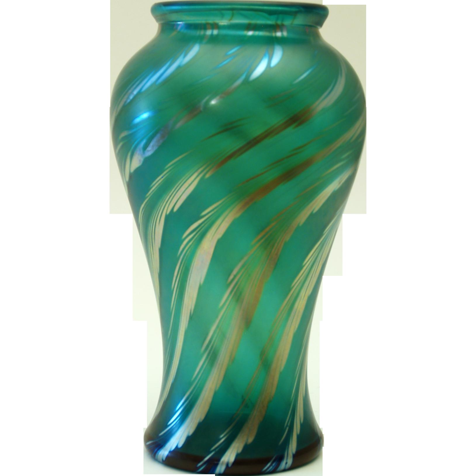 Emerald Art Glass correia emerald green art glass vase from melange-orange on ruby lane