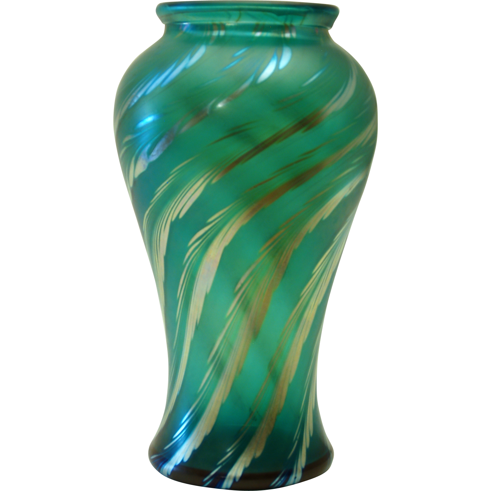 Correia Emerald Green Art Glass Vase From Melange Orange