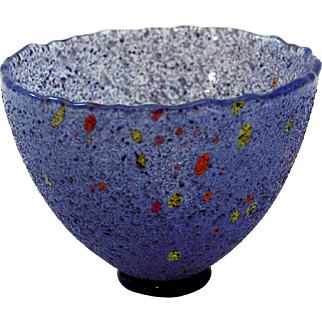 Kosta Boda Artist Collection Glass Bowl, Dark Blue