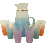 Blendo Multi-Color Pitcher and Drinking Glass Set