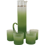 Green Blendo Pitcher and Drinking Glass Set