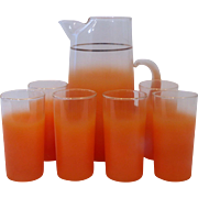 Orange Blendo Pitcher and Drinking Glass Set