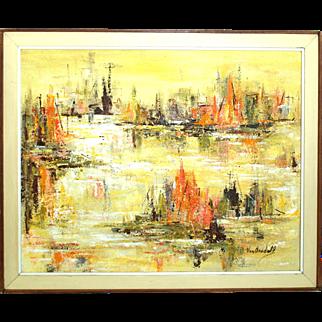 Polly Van Arsdell Modernist Oil on Masonite