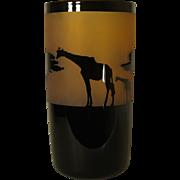 Correia Cylindrical Art Glass Giraffe Vase