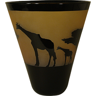 Correia Flared Art Glass Giraffe Vase