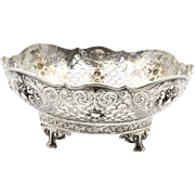 Antique Posen Repousse' Chased 800 Silver Footed Bowl