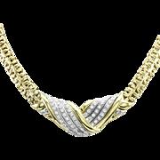 Signed Designer LEO PIZZO Pave Diamond Necklace in 18K Gold