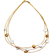 3 Strand Pearl & Gold Bead Station Necklace in 18K Yellow Gold