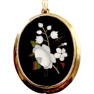 Antique Victorian Pietra Dura Pendant with 7K Yellow Gold Frame