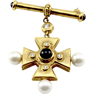 Sapphire, Diamond and Pearl Byzantine Cross Brooch/ Pin in Satin Finished 14K Yellow Gold
