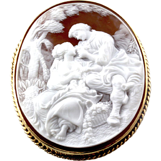 "Carved Brown Shell ""Lovers"" Cameo with 14K Yellow Gold Frame"