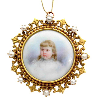 Antique Hand-Painted Porcelain Little Blonde Girl Portrait with Pearl Frame Brooch/ Pendant 18K Yellow Gold