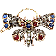 Victorian Hand-Crafted Multi-Gemstone Butterfly Brooch/ Pin in 9K Rose Gold & Silver