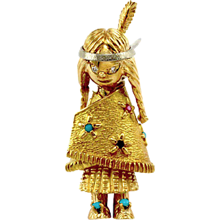 Signed Designer Lucas Multi Gem Native American Girl Brooch/ Pin in 18K Yellow Gold