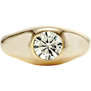 Gent's Diamond Solitaire Dome Ring in High Polished 14K Yellow Gold