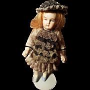 German All Bisque Antique Doll Kestner? Beautiful Dress & Hat!