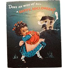 Black Americana Vintage Halloween Greeting Card Hallmark