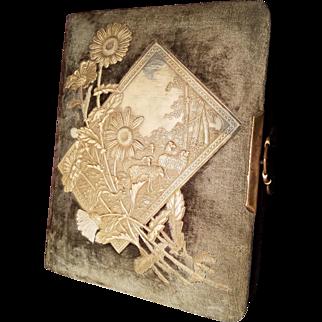 Beautiful Antique Celluloid & Velvet Photo Album With Photos