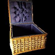Vintage Sewing Basket Blue Silk Interior Great Doll Display!
