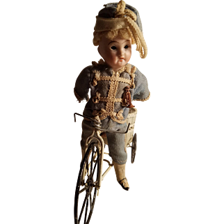 Old Recknagel Miniature Doll With Bicycle  Needs TLC!!