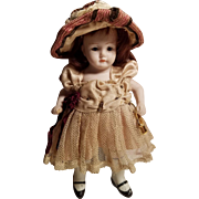 Pretty Little All Bisque German Kestner Doll Original Fancy Outfit!