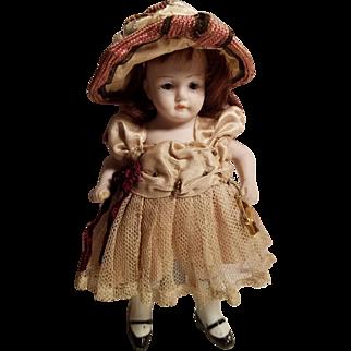 Pretty Little All Bisque German Kestner Doll Original Fancy Outfit!