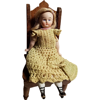 Antique German Solid Dome Bisque Doll Fancy Boots!!