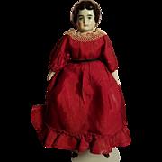 Old China Head Doll In Original Red Silk Dress & Undergarments