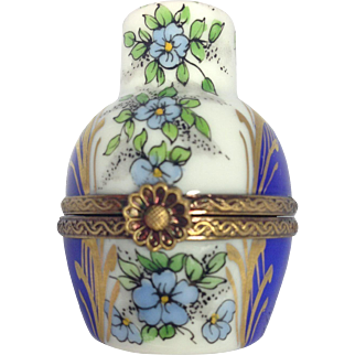 Flowered Limoges Urn Trinket Box with Perfume Bottle