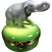 Limoges Porcelain Trinket Box-Elephant with his trunk up in the air! RARE and RETIRED
