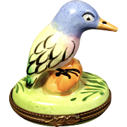 Limoges Porcelain Trinket Box-Bird perched on rock-RETIRED