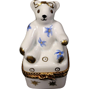 White Teddy Bear Floral Limoges Box