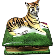 Rare 20th Century Large Tiger Sitting Upon a Book Limoges Trinket Box