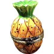 Pineapple Limoges Trinket Box with Bee Clasp by RIFFATERRE