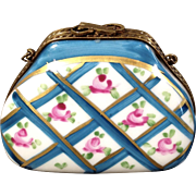 Limoges Porcelain Trinket Box-Purse with bow clasp