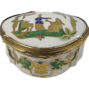 Antique Pinder & Bourne Porcelain Trinket Box with Gold Plated on Copper trim, hinge and clasp