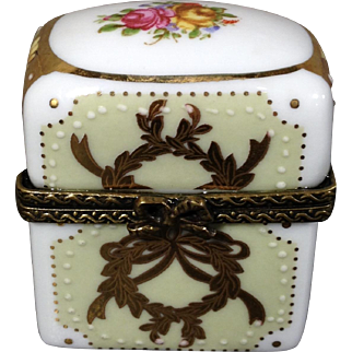 Vintage Limoges by China, Porcelain Hand Painted Trinket Box with Two Perfume Bottles