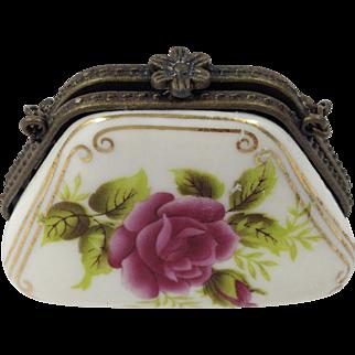 Vintage Chinese Porcelain Art Transfer art Trinket Box-Purse
