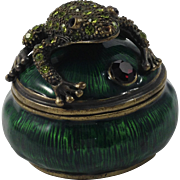 Perry Borrelli Hand Enameled Trinket Box-Frog on Lily Pad
