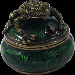 Perry Borrelli Hand Enameled Trinket Box-Frog on Lily Pad
