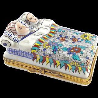 RETIRED Large Vintage Limoges Porcelain Trinket Box-Mom & Dad in bed