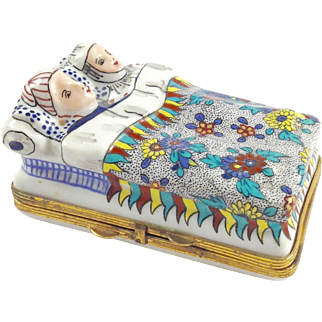 18th Century CHANTILLY Porcelain Hand Painted Trinket Box-Mom & Dad in bed
