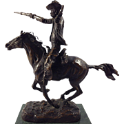 ORIGINAL KAUBA Bronze Cowboy on Horseback on Bronze Base and Green Marble