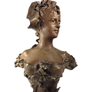 Elegant Art Nouveau Cast Bust Signed By Anton R. Nelson, France (1880-1910)